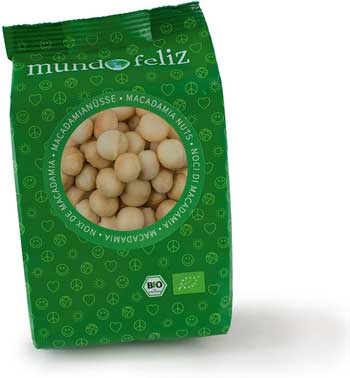 Noci migliori - Mundo Feliz, noci di macadamia fresche biologiche, 5 x 100 g